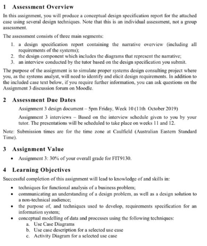 Fit9130 Systems Analysis And Design Report Writing Business Problem Information Systems Management Assessment Answer