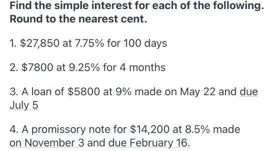 Simple Intrest Rate Nearesy Cent