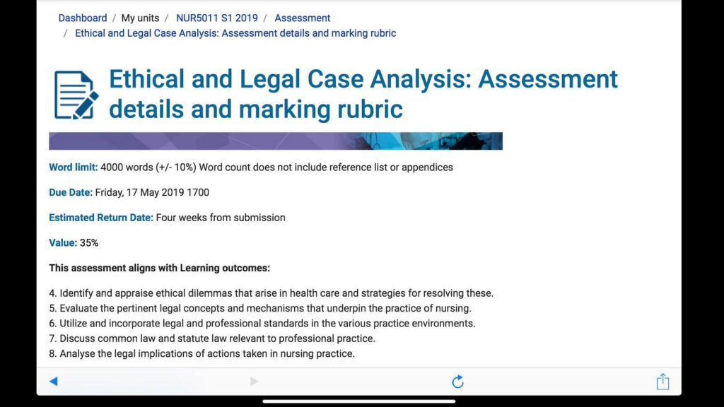 NUR5011 - Ethical and Legal Analysis - Nursing Case Study