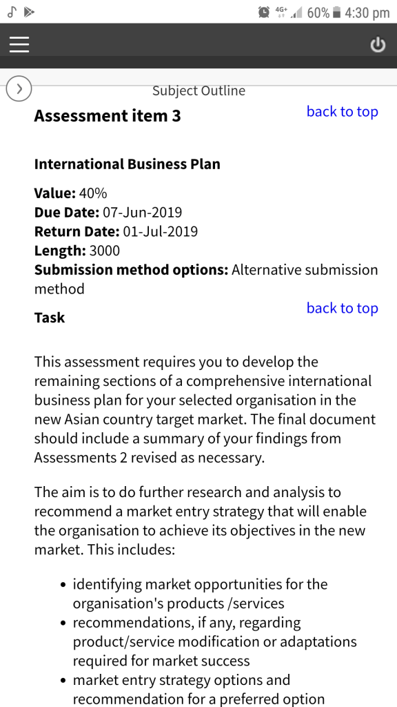 country business plan objective
